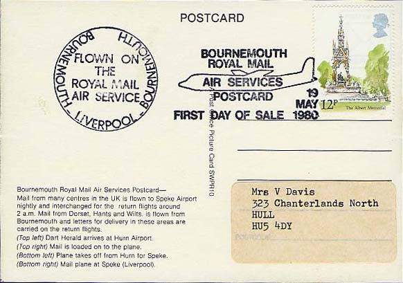 Bournemouth Royal Mail Air Services Postcard