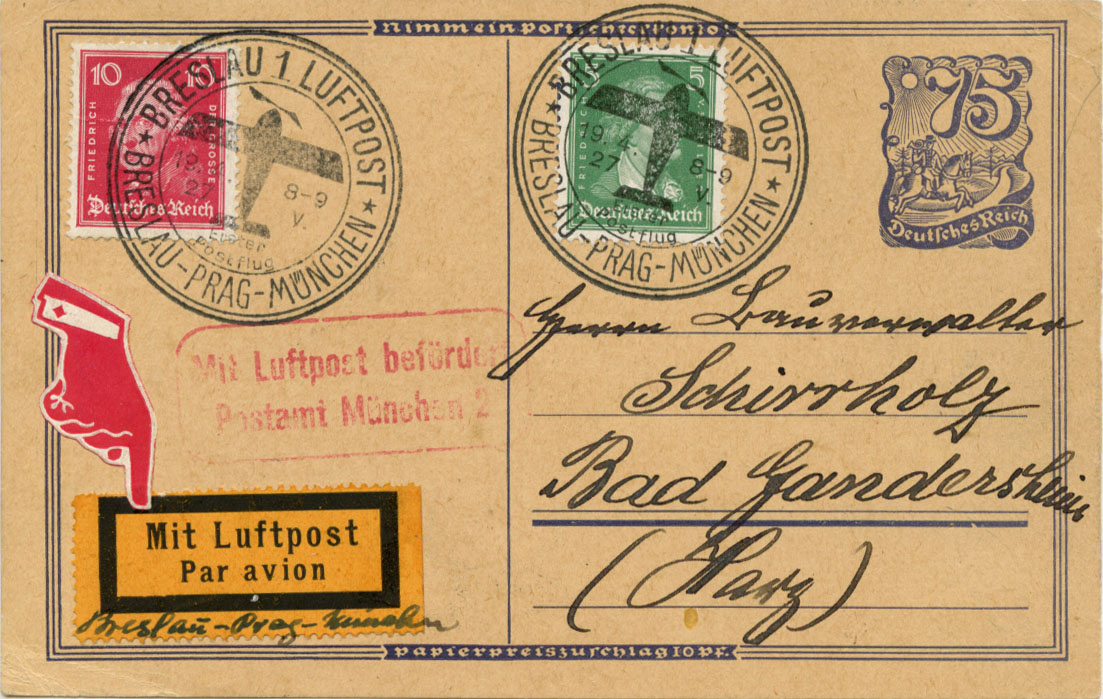 First Flight Cover Breslau Munchen 1927