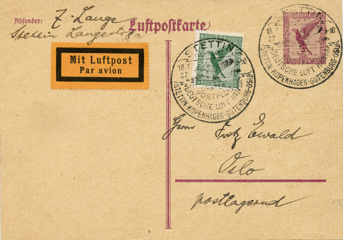 First Flight Cover Stettin to Oslo 1927