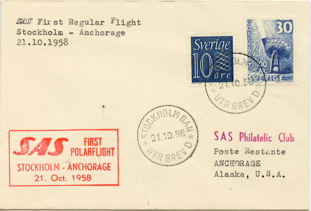 First Flight Cover Stockholm to Anchorage 1958