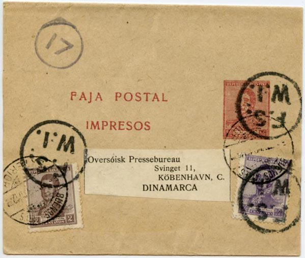 Argentina Newspaper Wrapper 1917 to Denmark
