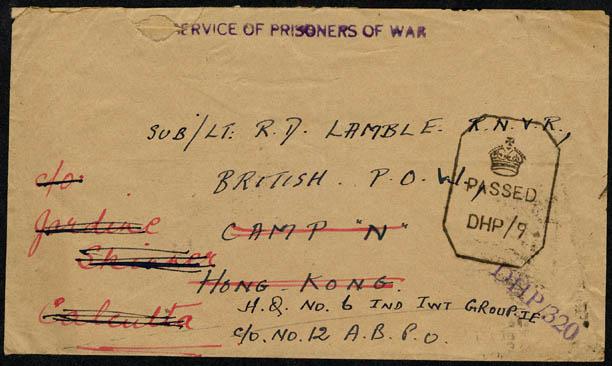 letter to Sub Lieut Roger Lamble