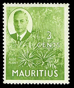 Mauritius 1950 3c Pictorial Definitive Aloe Plant