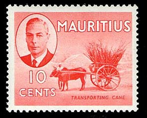 Mauritius 1950 10c pictorial definitive Transporting Cane