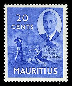Mauritius 1950 20c pictorial definitive Legend of Paul and Virginia