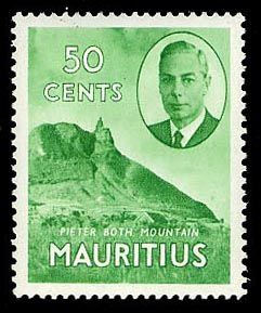 Mauritius 1950 50c pictorial definitive Pieter Both Mountain
