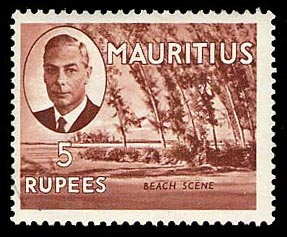Mauritius 1950 5r pictorial definitive Beach Scene