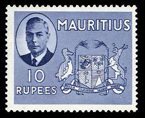 Mauritius 1950 10r pictorial definitive Arms of Mauritius