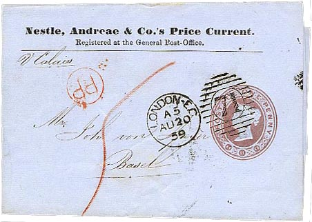 Nestle, Andreae & Co, used 1859 to Switzerland