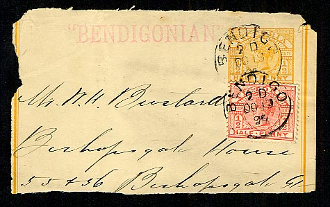 Bendigonian newspaper wrapper 1899
