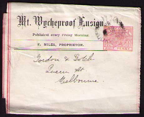 Mt Wycheproof Ensign ptpo newspaper wrapper