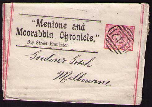 Mentone and Moorabbin Chronicle ptpo newspaper wrapper