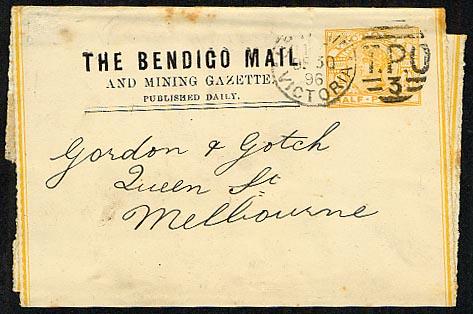 Bendigo Mail and Mining Gazette 1896 newspaper wrapper