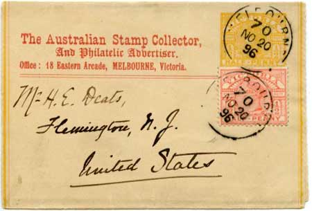 The Australian Stamp Collector newspaper wrapper 1896