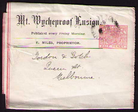 Mt Wycheproof Ensign ptpo newspaper wrapper