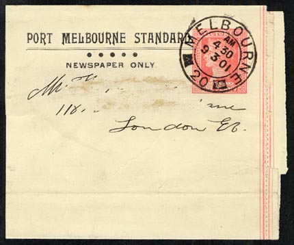 Victoria 1901 Port Melbourne Standard newspaper wrapper
