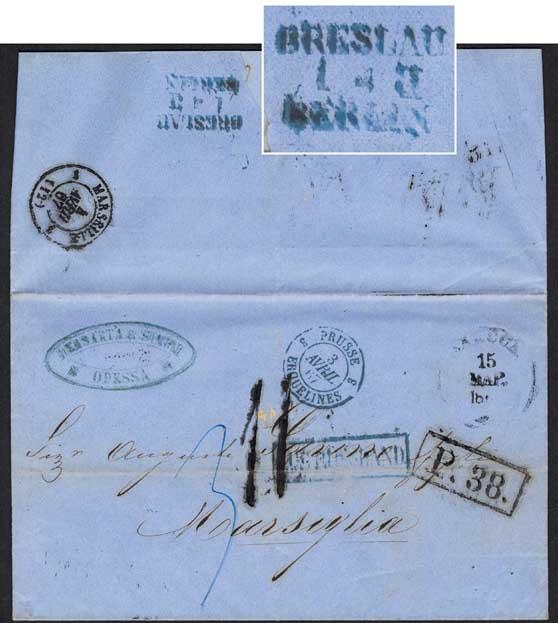 Breslau Berlin transit postmark 1867