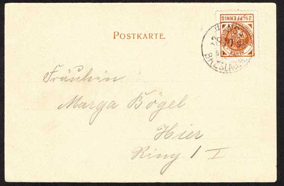 Postcard with Privat-Stadtbrief-Beforderung Hansa stamp