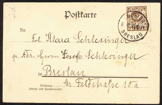 Wroclaw Courier stamp on postcard