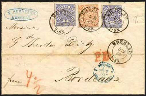 1869 cover from Breslau to Bordeaux