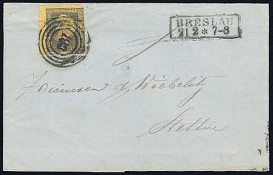 Cover from Breslau to Stettin franked with Prussia stamp